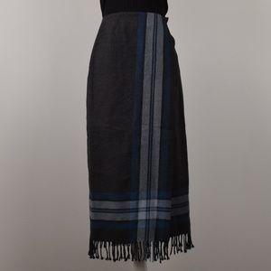 Valerie Stevens Petite 100% Wool Plaid Wrap Skirt